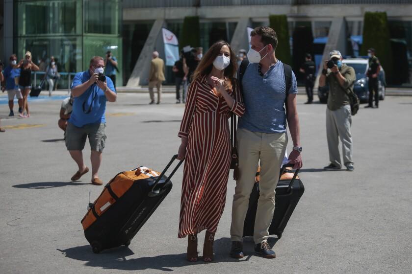 Arriving passengers in Mallorca, Spain.