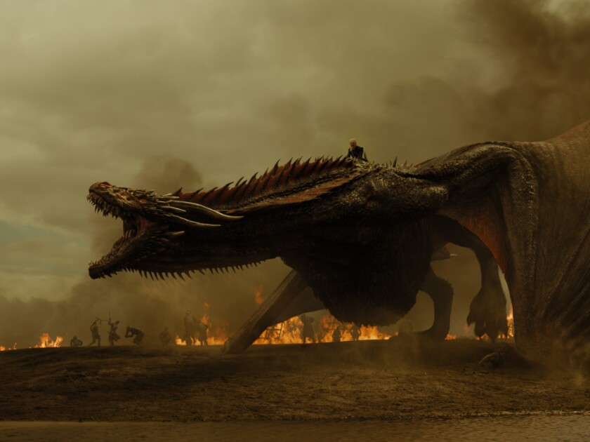 "Emilia Clarke as Daenerys Targaryen atop her dragon Drogon from the ""Game of Thrones"" episode ""The S"