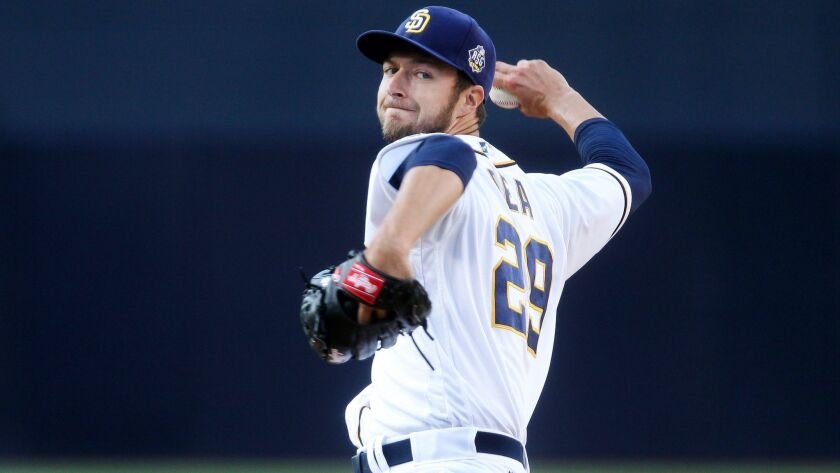 The Padres' Colin Rea pitches to the Mariners in the first inning at Petco Park in San Diego on June 2, 2016.