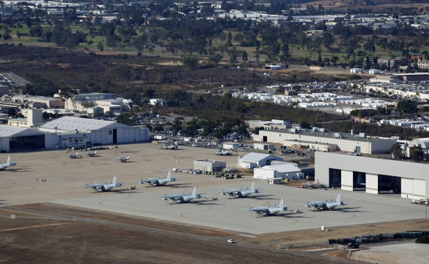 Airplanes sit on the tarmac at Marine Corps Air Station Miramar.