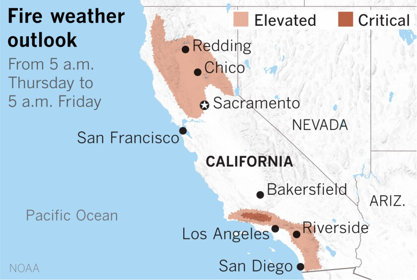 Map shows elevated fire danger in wide swaths of Northern and Southern California on Thursday and Friday