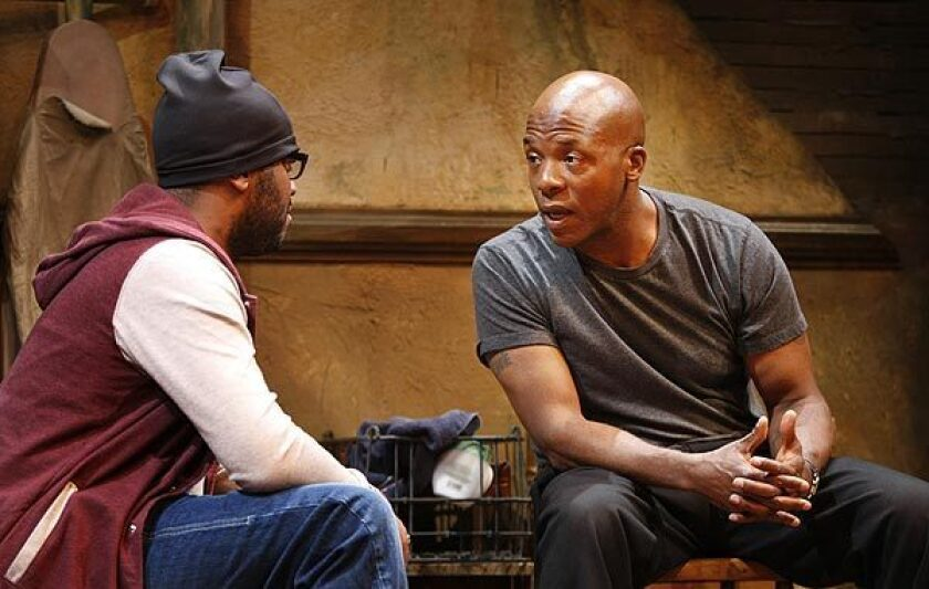 "Suzan-Lori Parks' ""Topdog/Underdog"" at South Coast Repertory with Larry Bates, left, and Curtis McClarin."