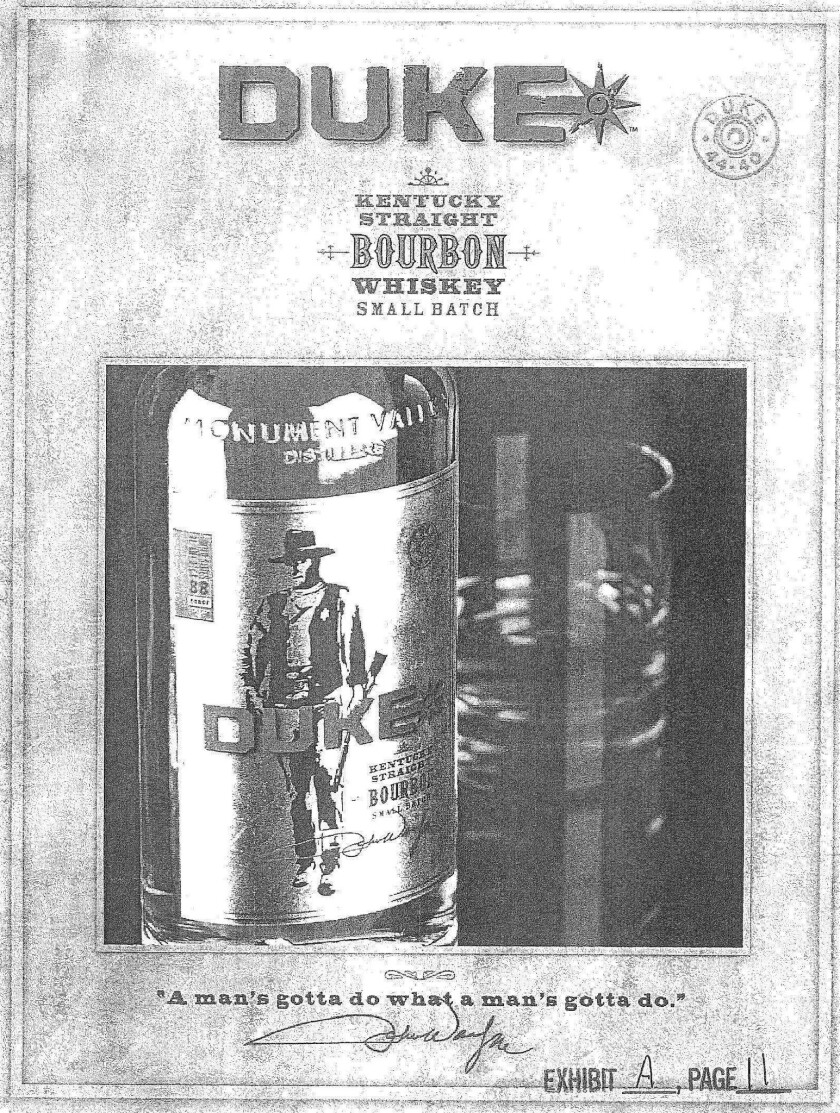 A Kentucky bourbon whiskey is among the products branded with actor John Wayne's nickname and image.