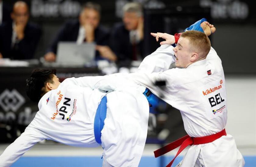 La Federación Mundial de Karate (WKF) ha lanzado una campaña digital con la etiqueta #TsukiForKarate2024, a favor de la inclusión de este deporte en los Juegos Olímpicos de París, de cuyo programa ha quedado excluido. EFE/Archivo