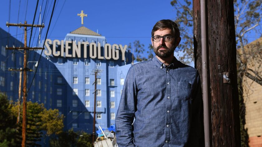 "Louis Theroux of ""My Scientology Movie"" is photographed near the Scientology Center in Hollywood."
