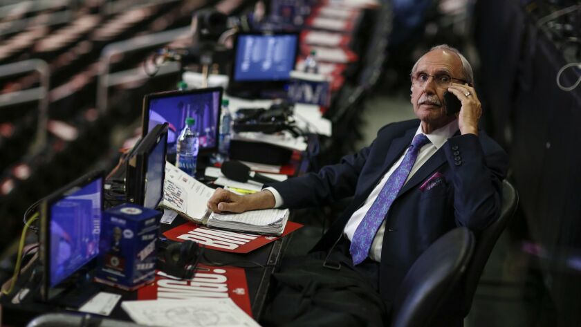 Clippers broadcaster Ralph Lawler prepares for his final regular season game at his perch in section 111 at Staples Center in April.