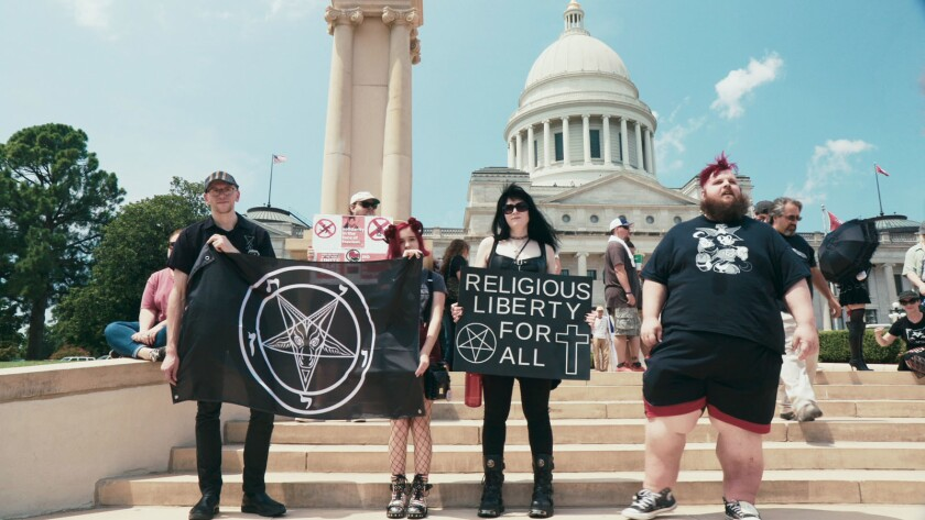 Supporters of TST at the rally for religious liberty in Little Rock, AR, August 2018 featured in HAI