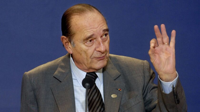French President Jacques Chirac, shown in 2007