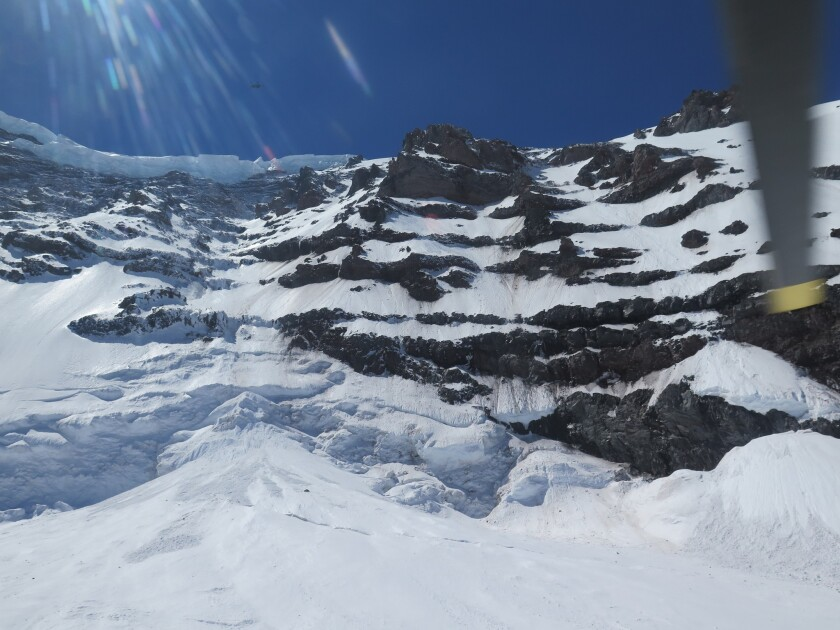A photo provided by the National Parks Service shows the Liberty Ridge Area of Mt. Rainier on Saturday.