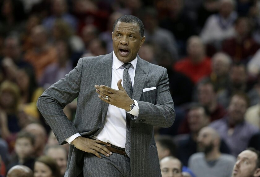 FILE - In this Feb. 6, 2016, file photo, New Orleans Pelicans head coach Alvin Gentry yells to an official in the first half of an NBA basketball game against the Cleveland Cavaliers, in Cleveland. The injury-riddled Pelicans are unlikely to be a major player in NBA trades before Thursday's deadlin