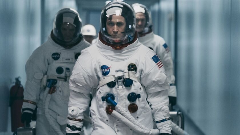 "This image released by Universal Pictures shows Ryan Gosling in a scene from ""First Man."" (Daniel Mc"