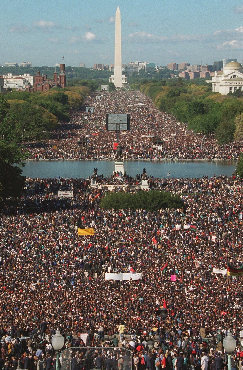 Participants in the Million Man March gather on Capitol Hill and the Mall in Washington on Oct. 16, 1995.