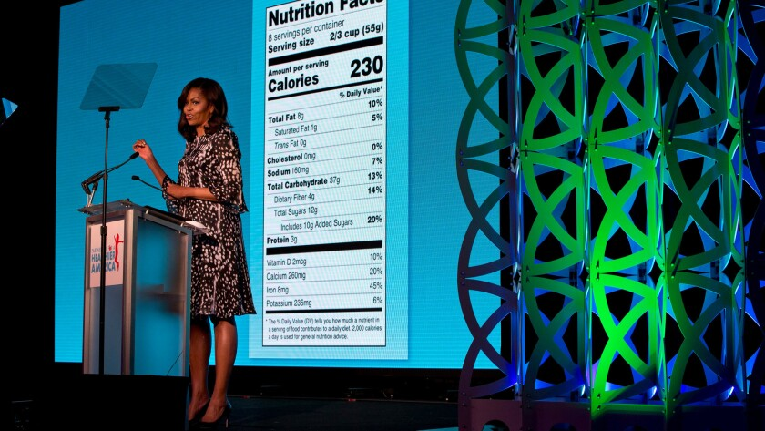 Michelle Obama unveils new nutrition label