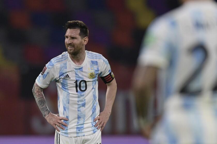 El atacante argentino Lionel Messi durante el partido que empataron 1-1 contra Chile