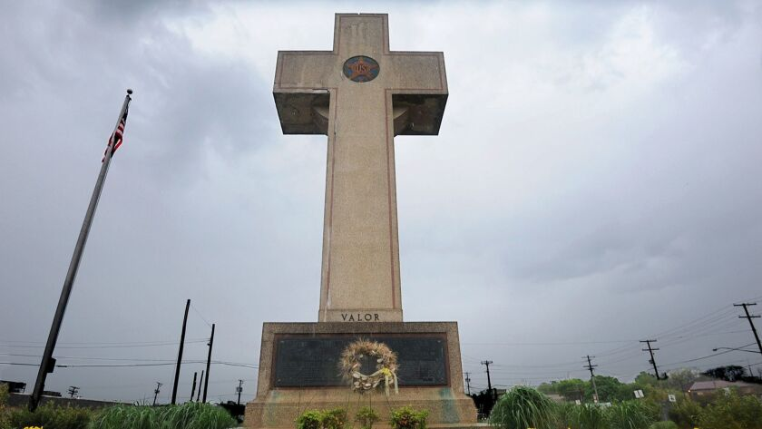 The Bladensburg Peace Cross, as the local landmark is known, in Bladensburg, Md.