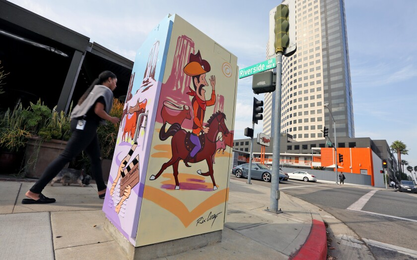 The Burbank Cultural Arts Commission selected 14 additional utility boxes to be painted in the city this year. Ricardo Cerezo, who works in computer and information technology, painted a box outside the Novo Cafe at 3900 W. Riverside Drive.