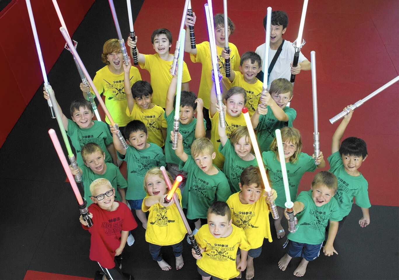 This group of 21 children, ages 5-13, took part in United Studios of Self Defense's five-day Light Saber Academy, held from July 20-24.