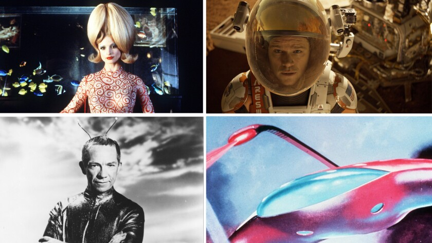 """Clockwise from top left: """"Mars Attacks!""""; """"The Martian""""; """"War of the Worlds"""" and """"My Favorite Martian."""""""