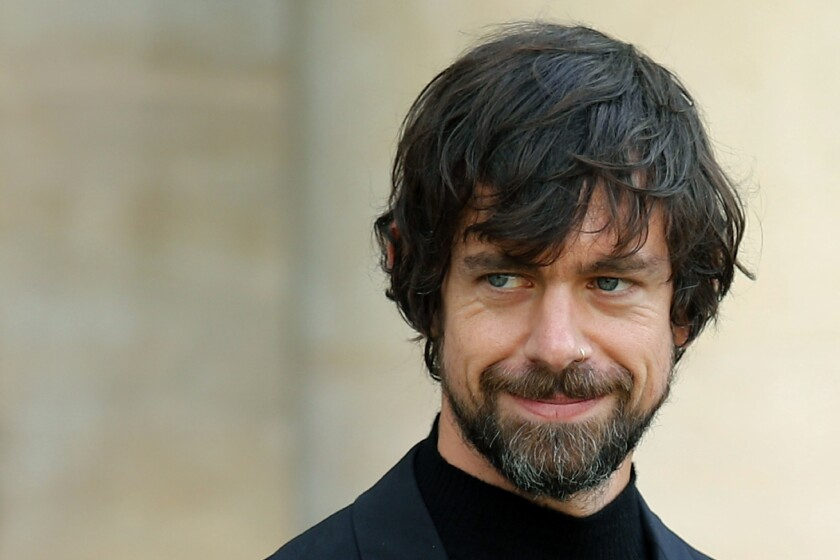 FILE - In this June 7, 2019, file photo, Twitter CEO Jack Dorsey leaves after his talk with French President Emmanuel Macron at the Elysee Palace in Paris. Twitter said Monday, March 9, 2020, it's reached an investment deal with Silver Lake and Elliott Management that will keep Dorsey as the social media company's CEO. (AP Photo/Francois Mori, File)