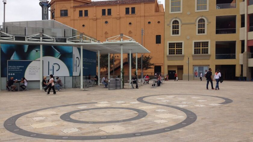 An interactive fountain in the enlarged Horton Plaza Park is nearly ready to be enjoyed.