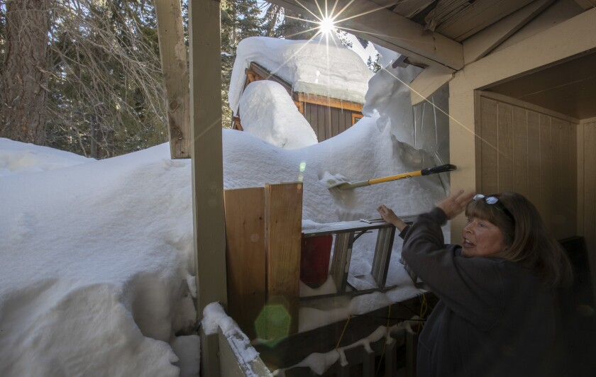 MAMMOTH LAKES, CALIF. -- WEDNESDAY, MARCH 13, 2019: Brenda McCann has had to deal with more snow thi