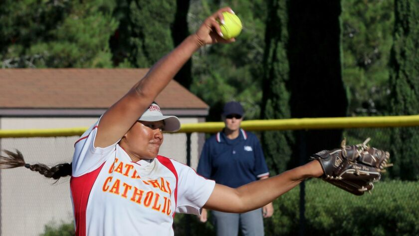 Cathedral pitcher Megan Faraimo fires to the plate.
