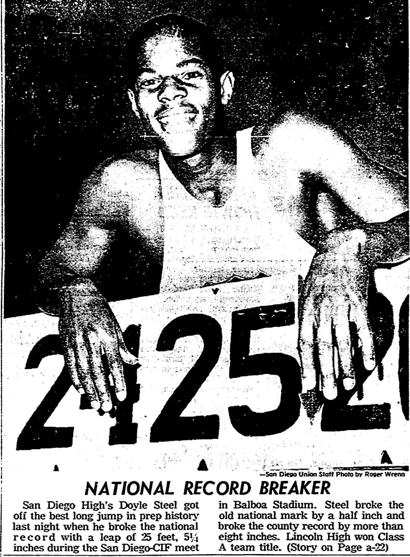 National long jump record breaker Doyle Steel, picture in The San Diego Union on May 28, 1966.