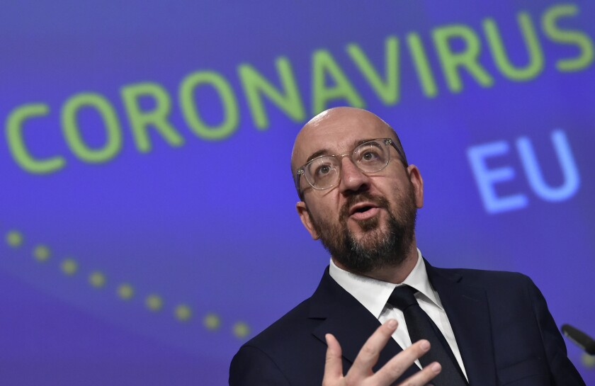 FILE - In this Wednesday, April 15, 2020 file photo, European Council President Charles Michel speaks during a media conference on the European Union response to the COVID-19 crisis at EU headquarters in Brussels. European leaders on Friday June 19, 2020, are to discuss a multi-billion post-coronavirus recovery plan and details of the next long-term EU budget, but without real hope a compromise will be found. (John Thys, Pool Photo via AP, File)