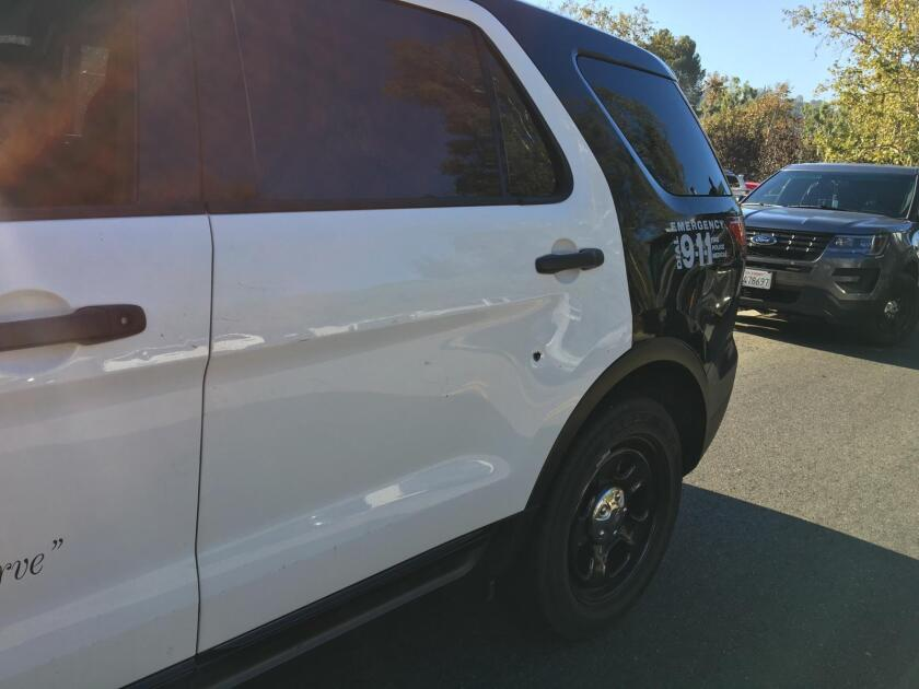 An LAPD SUV was struck by a bullet early Sunday.