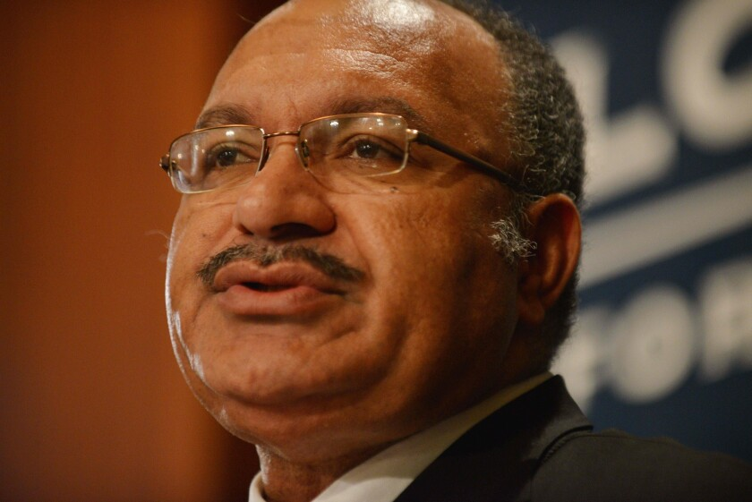 This file photo taken on May 14, 2015 shows Papua New Guinea Prime Minister Peter O'Neill giveing a talk at the Lowy Institute for International Policy in Sydney, Australia
