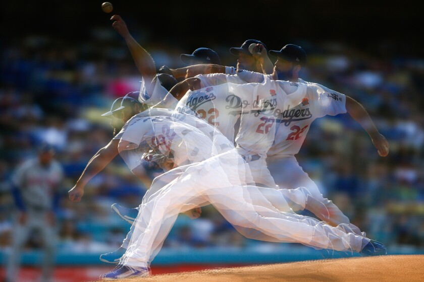 LOS ANGELES, CALIF. - MAY 27: In-Camera Multiple Exposure of Los Angeles Dodgers starting pitcher Cl