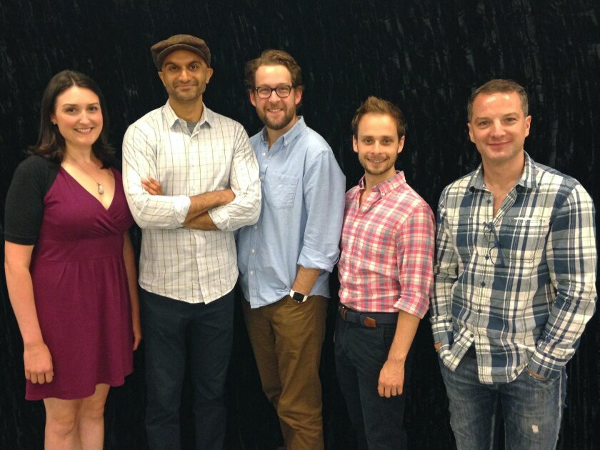 Liz Wisan (Woman One), Usman Ally (Doctor Watson), Andrew Kober (Man Two), Blake Segal (Man One) and Euan Morton (Sherlock Holmes) are the cast of 'Baskerville: A Sherlock Holmes Mystery.'