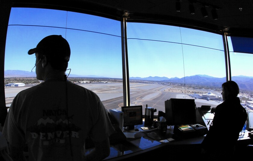 Air traffic controllers have a commanding view of the runways at Palm Springs International Airport. The FAA's sweeping NextGen project is gradually replacing radar-based flight monitoring with more sophisticated automation and global positioning satellites.