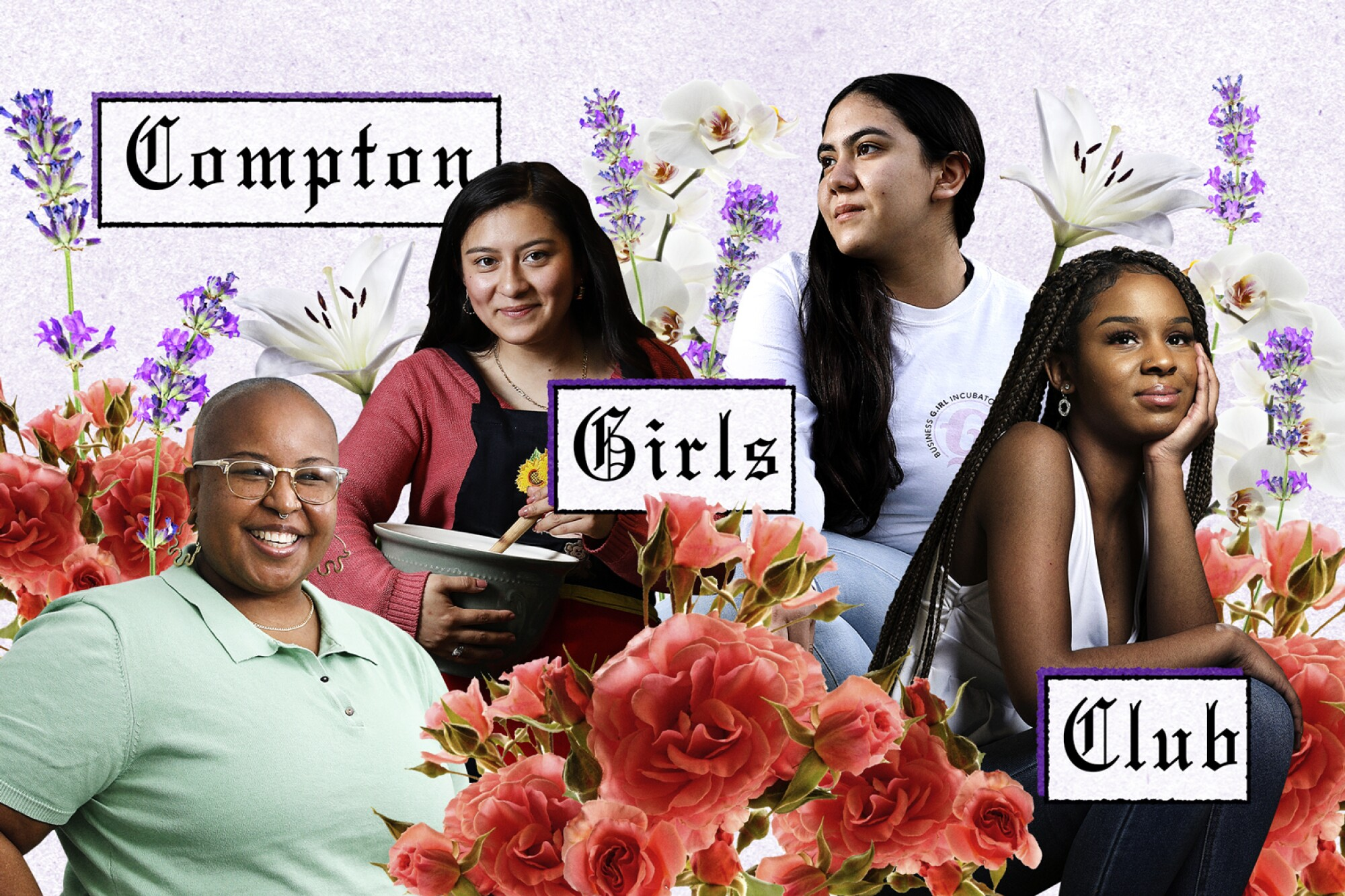An illustration spotlighting the founder and three members of the Compton Girls Club.