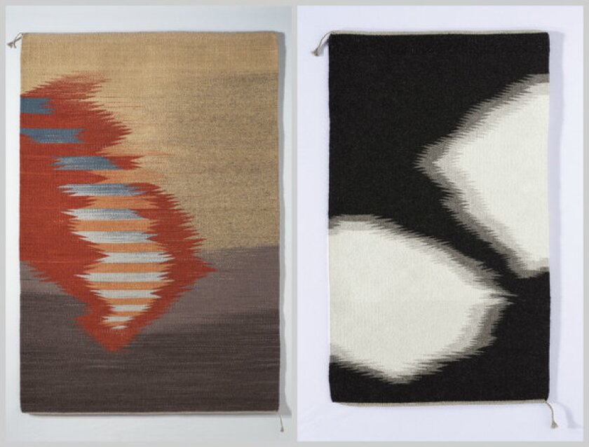 """Regina Vorgang's handwoven rugs include """"Visions,"""" left, made of dyed wool and nearly 6 feet long ($2,400). """"The Paint Horse,"""" right, is made of Churro sheep wool. It's only about 4 feet long (scale is distorted in the photo collage) and priced at $1,000."""