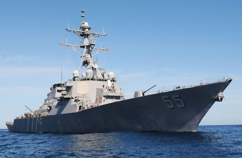The Pentagon is moving the Stout, a guided-missile destroyer, to the eastern Mediterranean Sea.