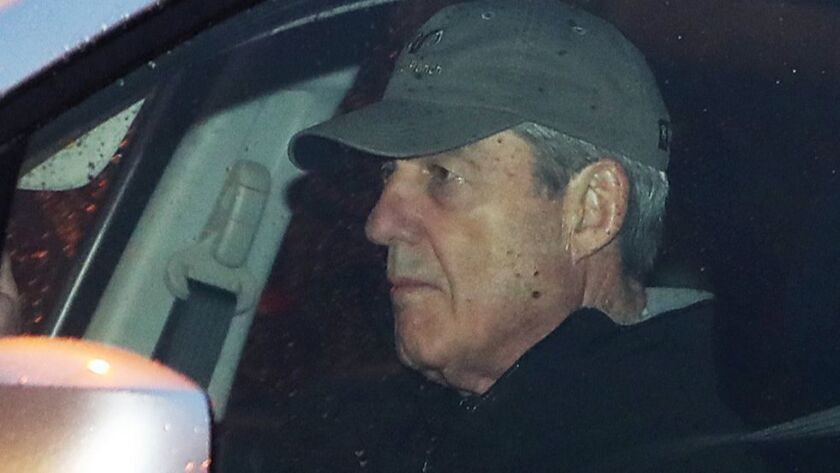 Special counsel Robert S. Mueller III arrives at his office in Washington on Thursday. Officials say his investigation is winding down, and a final report could be submitted to Atty. Gen. William Barr as early as this week.