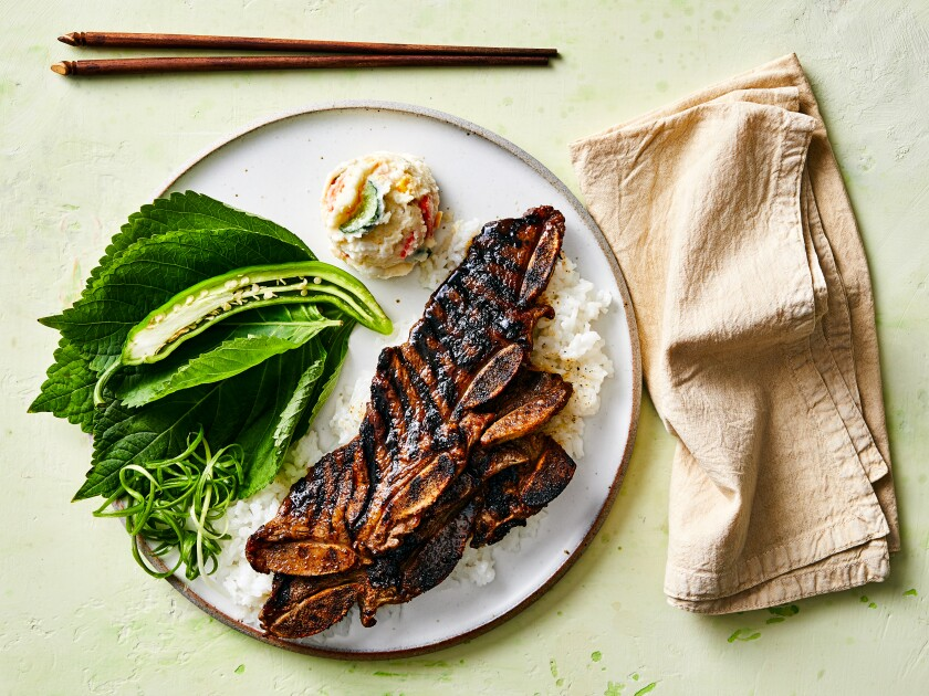 Grilled beef, perilla leaves, steamed rice, scallions and chile.