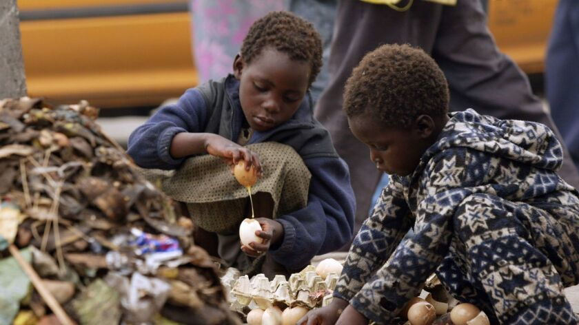 Two unidentified children pick up rotten eggs from a heap of uncollected rotting garbage in Mbare, a