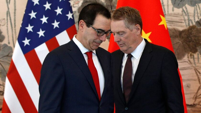U.S. Treasury Secretary Steven Mnuchin, left, and U.S. Trade Representative Robert Lighthizer in Beijing on May 1 after meeting with Chinese Vice Premier Liu He.