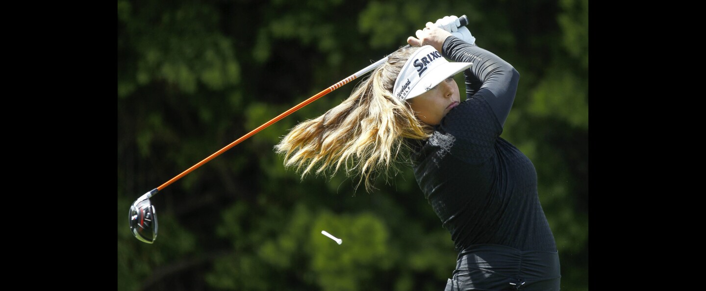 Kassidy Teare, from Vista, hits from the 10th tee as she practices for the Kia Classic.