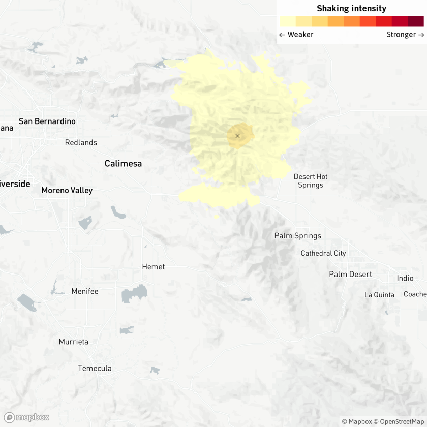 A map of an earthquake reported 11:19 p.m. Monday near Desert Hot Springs, according to the U.S. Geological Survey.