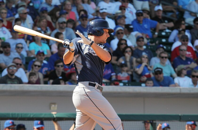 Alex Dickerson, shown batting at Wrigley Field, was one of Padres to homer on this date in 2016 in Toronto.