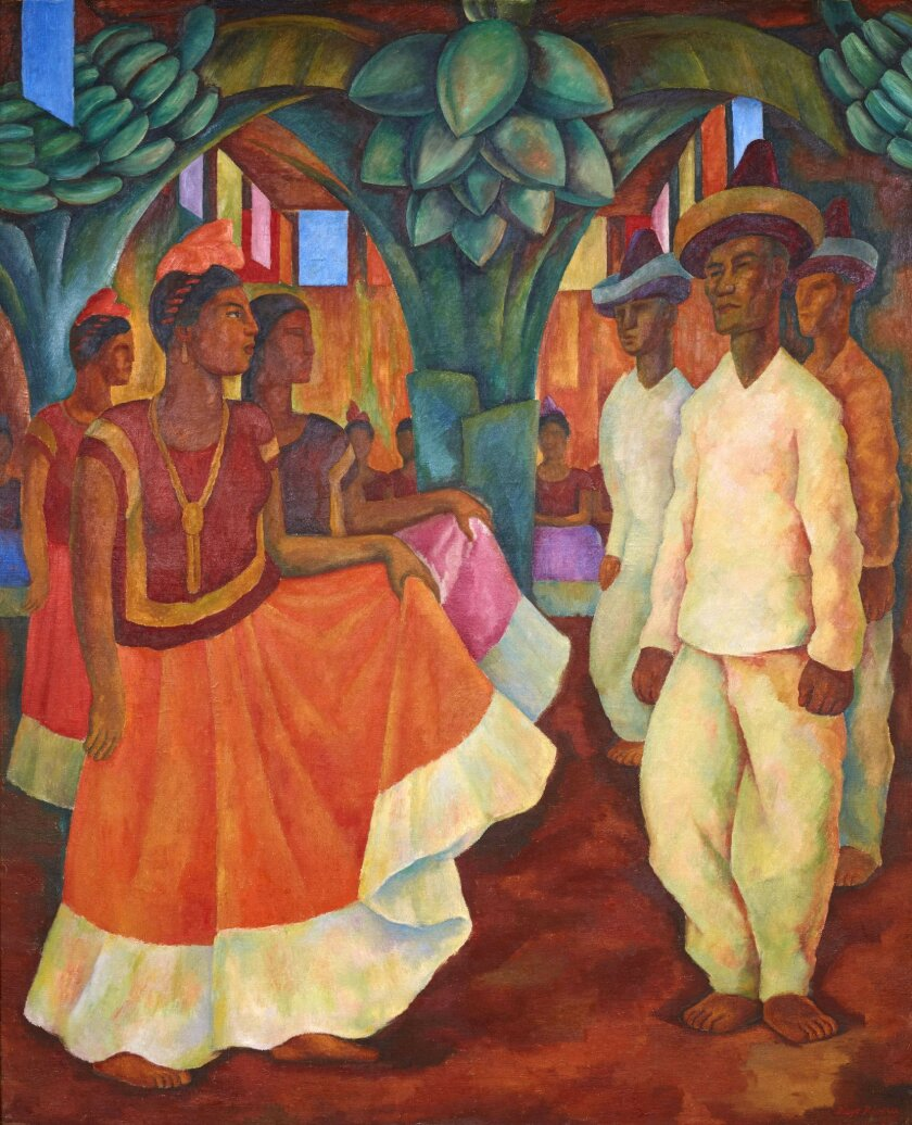 """This undated photo provided by the Phillips Auction House shows Diego Rivera's """"Baile en Tehuantepec."""" Phillips Auction House says that the painting that has sold privately for $15,7 million dollars sets a world record price for any work of Latin American art. The figure nearly duplicates the previous record of Latin American art set for Frida Kahlo's """"Dos desnudos en el bosque,"""" which sold for more than $8 million dollars at a Sotheby's public auction on May 12, 2016.. (2016 Banco de Mexico Diego Rivera Frida Kahlo Museums Trust, Mexico, D.F. / Artists Rights Society (ARS), New York. Phillips Auction House via AP)"""