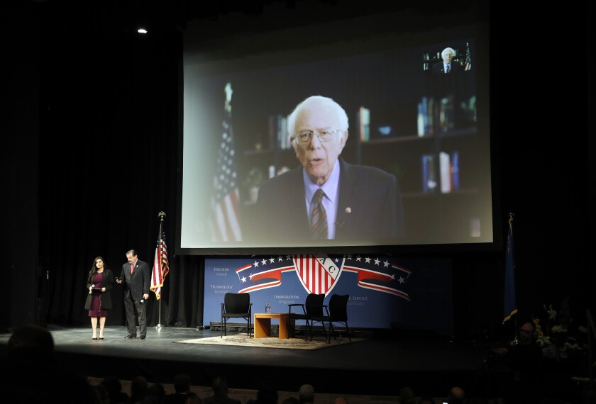 Democratic presidential candidate Sen. Bernie Sanders, I-Vt., speaks via teleconference to the LULAC Presidential Town Hall, Thursday, Feb. 13, 2020, in Las Vegas. (AP Photo/John Locher)