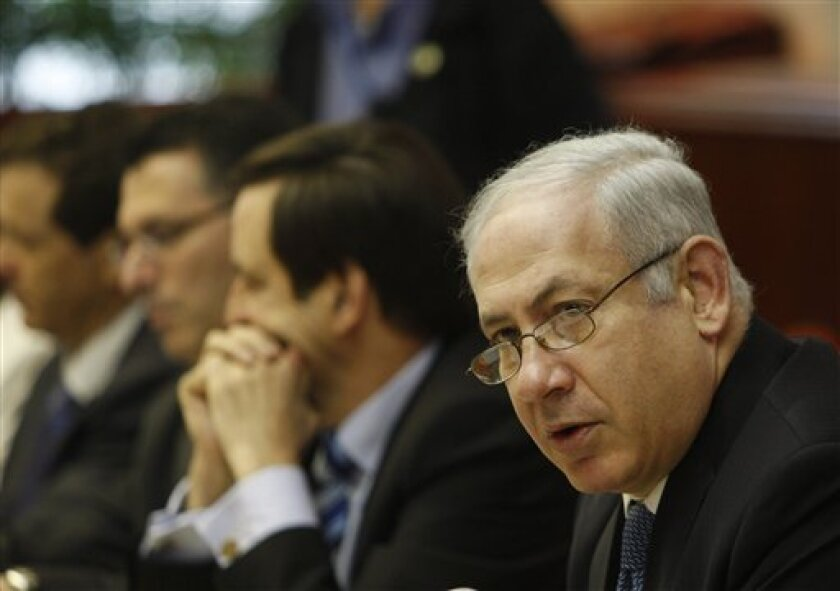 Israel's Prime Minister Benjamin Netanyahu convenes the weekly cabinet meeting in Jerusalem, Sunday, May. 31, 2009. (AP Photo/Dan Balilty, Pool)