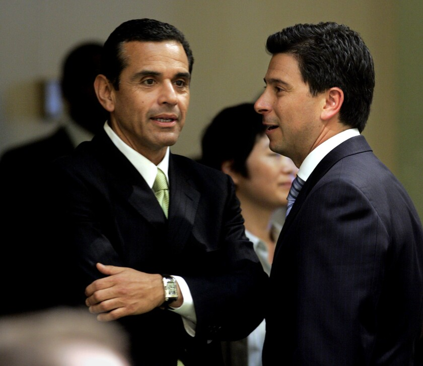 Antonio Villaraigosa, left, then mayor of Los Angeles, with Fabian Nuñez, then speaker of the Assembly, in Sacramento in 2006.