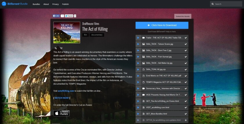 """This example of a BitTorrent Bundle was offered by Drafthouse Films to promote its documentary, """"The Act of Killing."""""""