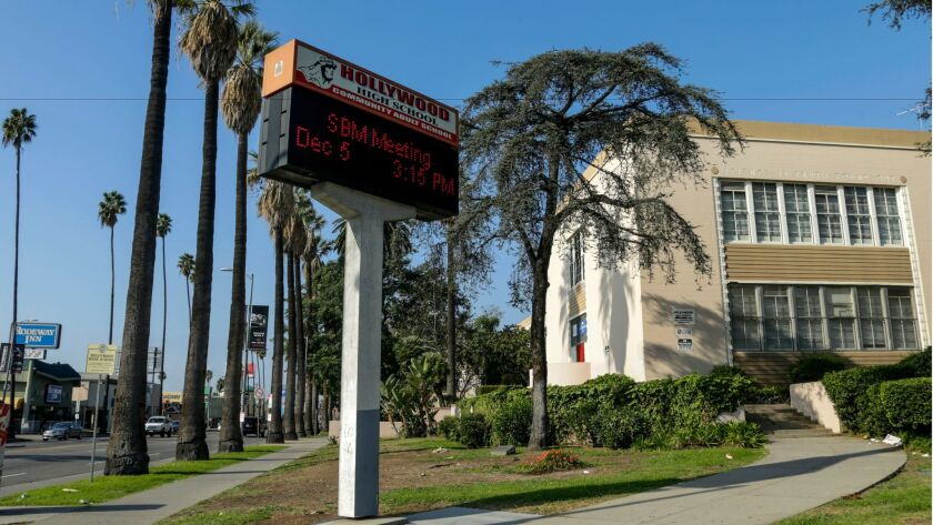 The Los Angeles Unified School District board will consider a proposal to install a large digital billboard for commercial advertising on the campus of Hollywood High School, at the corner of Sunset Boulevard and Highland Avenue.