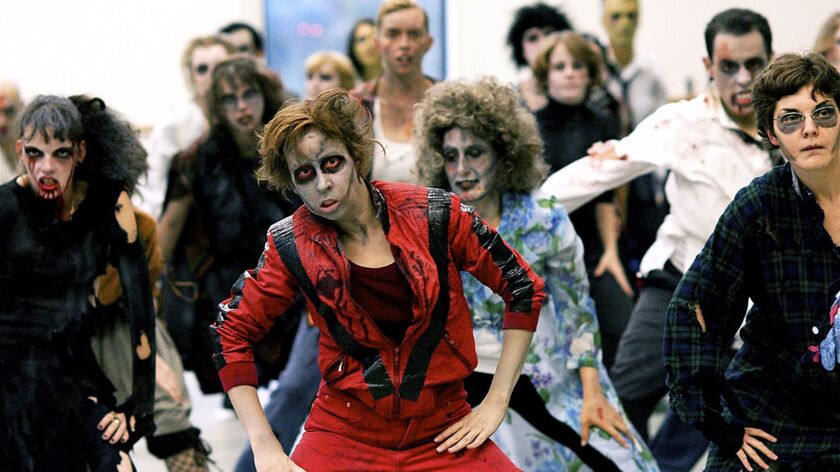 "In the annual ""Thrill the World,"" people re–create Michael Jackson's ""Thriller"" video in venues across the globe. Pictured here: the event in Toronto in 2007."